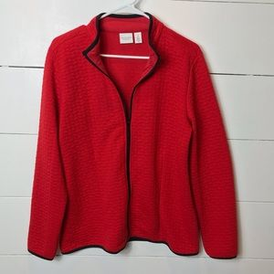 Weekends by Chico's Red Zip Up Light Jacket Medium